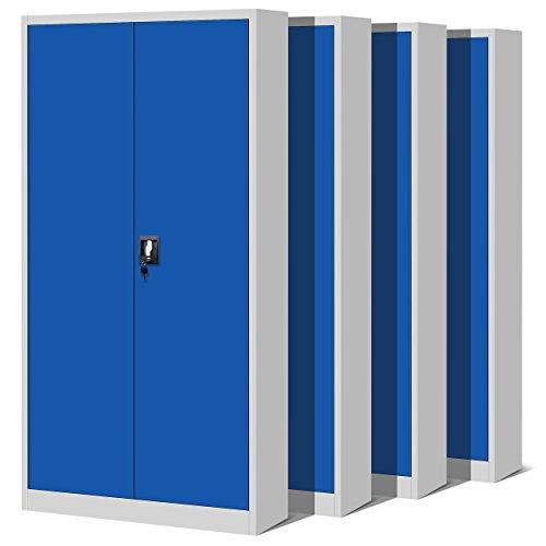 Jan Nowak by Domator24 4er Set Aktenschrank XL C001H Büroschrank Metallschrank Werkzeugschrank Stahlblech Pulverbeschichtet Flügeltüren Abschließbar 195 cm x 90 cm x 40 cm (grau/blau) -