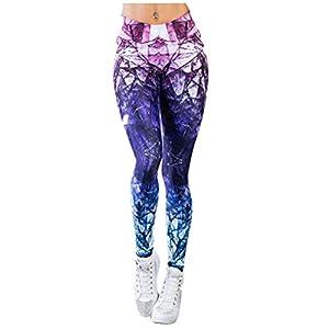 VORCOOL Frauen Hohe Taille Gestellte Legging Sommer Sport Hosen Fitness Leggings Muster Bequeme Yoga Hosen Größe L