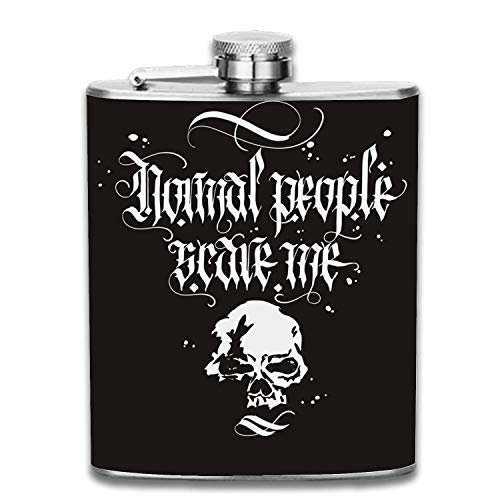 7 OZ Gothic Lettering Hip Flask Set: Plain Smooth Satin Polish Surface. Slim, Light And Curved to Fit Pockets. PERFECT GIFT For Those Who Deserve The Best