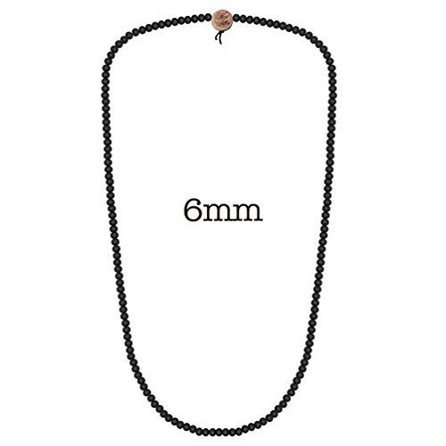 Wood Fellas Deluxe Pearl Necklace collana di perle 6mm - nero, one, 100% legno