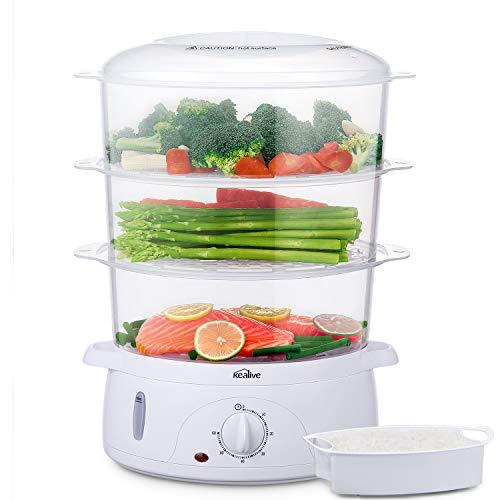 Cuiseur vapeur, Cuiseur vapeurs electrique sans BPA, Paniers empilables à 3 niveaux, Cuiseur legumes avec porte-œufs et bol à riz,...