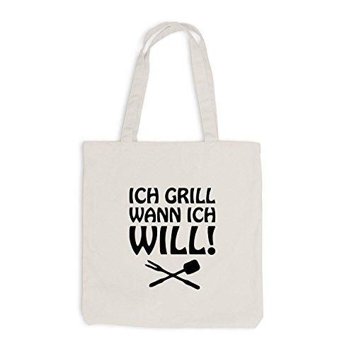 Jutebeutel - Ich Grill wann ich will! - Grillen BBQ Beige