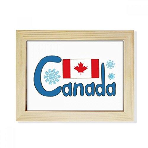 DIYthinker Kanada National Flagge Blau-Muster-Desktop aus HÖlz Bilderrahmen Fotokunst-Malerei Passend 15.2 x 20.2cm (6 x 8 Zoll) Bild Mehrfarbig