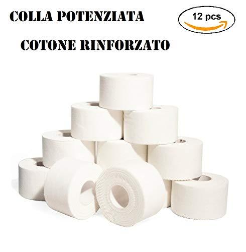 TAKE SPORT, Tape sportivo, Tape crossfit, Nastro Adesivo, Sport Tape. 12 rotoli 3,8 x 10m, 100% Cotone, Bordo Zig Zag, Non elastico. Bianco