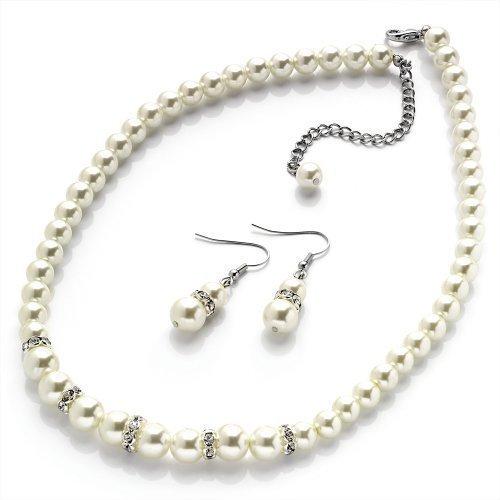 New Ladies Cream Pearl Glass Jewellery Bridal Set Cheap
