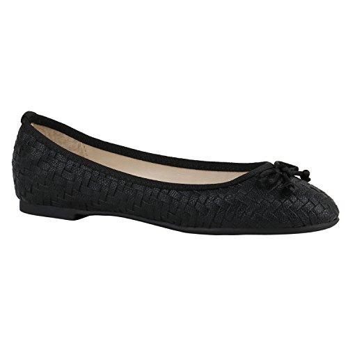 Klassische Damen Ballerinas | Lederoptik Flats | Schuhe Übergrößen | Flache Slipper | Spitze Prints Strass Schwarz Schwarz