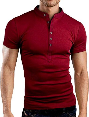 Grin&Bear Slim Fit Grandad Stehkragen Shirt,BH121 kurzarm/burgund