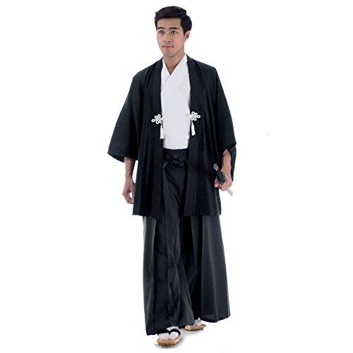 Cosplaymania Japan Samurai Kimono Set 3 Teile Kendo Gi + Hakama + Haori Baumwolle M L XL (Schwarz & (Geisha Samurai Kostüm)