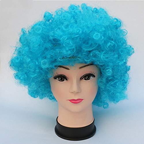 CJY-wig Halloween Unisex Kurze Afro Clown lockiges Zirkus Haar Bunte Halloween Kostüm Perücke Kurze lockige lockige wellenförmige Perücken 70er 80er Retro Disco,B
