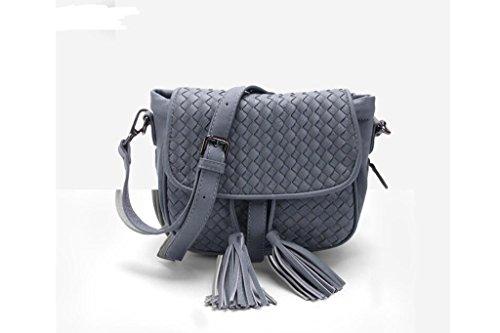 spalla della signora alla moda, pacchetto diagonale, sacchetto tessuto coreano femminile Lake color