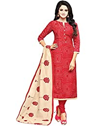Applecreation Women's Cotton Chanderi Salwar Suits Material (Red_Salwar Suit_21DMK621_Free Size)