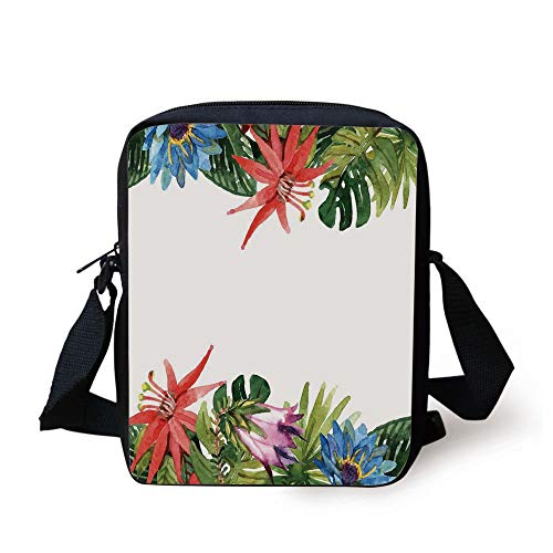 Leaf,Exotic Flowers Bamboo Climbing Dayflower Littlebell Coral Creeper Print,Green Red Purple and Blue Print Kids Crossbody Messenger Bag Purse -
