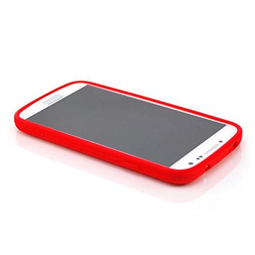 Saxonia Schutzhülle für Apple iPhone SE 5 5S Hülle Case Back Cover TPU Silikon mit Motiv Blume / Rosen-Rot Rot