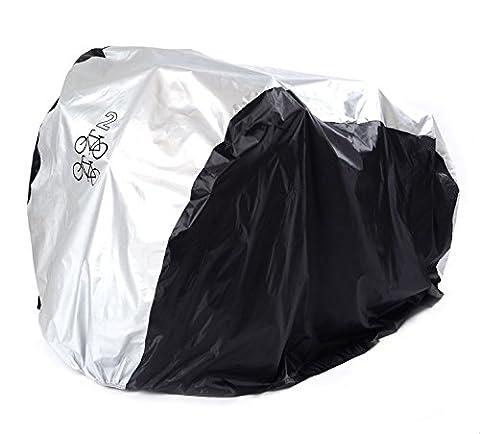 FunYoung Fahrradabdeckung Wasserdicht Polyester Fahrradschutzhülle Fahrradgarage Silbern Schwarz (200*75*110 für zwei 26 Zoll)