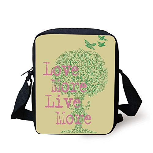 KLYDH Animal Decor,Love Live and Peace Illustration Positive Wishes for The World Artistic Work,Green Soft Pink Yellow Print Kids Crossbody Messenger Bag Purse