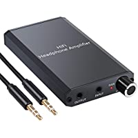 eSynic Amplificador de Auriculares Portátil HiFi 3.5mm Audio Jack con Interruptor de Ganancia de Dos Etapas Cable USB y Cascara de Aluminio para Teléfonos MP3 MP4 Reproductores Digitales y Ordenadores