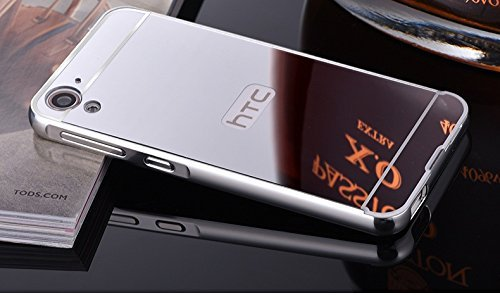 Delight Collection Aluminum Bumper + Acrylic Mirror Back Cover Case For HTC Desire 826 Cell Phone Cover Hybrid Case - Silver