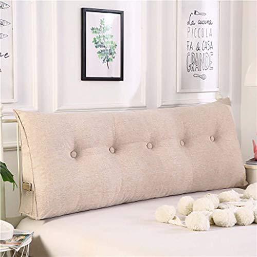 Large Bolster Triangular Wedge Pillow,Tatami Bedside Back Cushions Reading Backrest Cushion Three-dimensional Sofa Backrest Headboard Cushion-Khaki 120x50x20cm(47x20x8inch) -
