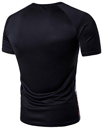 Herren Kurze Ärmel Drucken Sport Muster T-Shirt Schwarz