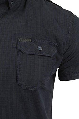 Firetrap Sebbon - Herren Hawaiihemd mit kurzen Ärmeln Mecosta - Navy