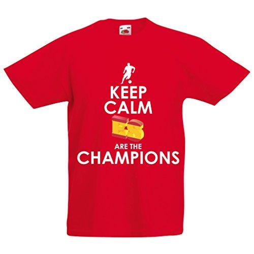 Kinder Jungen/Mädchen T-Shirt Spanier sind die Meister, Meisterschaft von Russland 2018, Weltpokal - Fußballmannschaft des Fanhemdes von Spanien (14-15 Years Rot Mehrfarben)