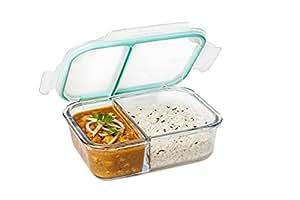 Signoraware Slim Small Glass Lunch Box, 600ml/33mm, Clear