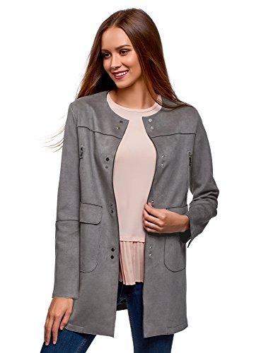 oodji Ultra Damen Mantel aus Wildlederimitat mit Aufgesetzten Seitentaschen, Grau, DE 40 / EU 42 / L