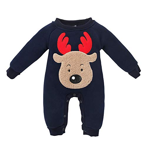 (ALISIAM Winter Weihnachten Baby Kleiner Junge Kleine schön Mode Gemütlich Warm halten Hautfreundlich Dick Elchmuster Strampelhöschen Kriechender Anzug Kinderkleidung)