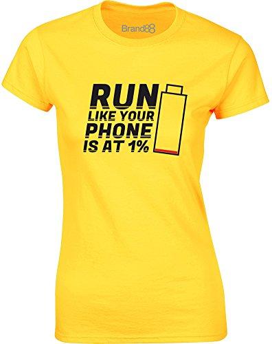 Brand88 - Run Like Your Phone Is At 1%, Gedruckt Frauen T-Shirt Gänseblümchen-Gelb/Schwarz