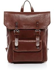 """FEYNSINN mochila PHOENIX - piel genuina marrón - bolso para hombro - M - backpack portátil para tablet, iPad, 14"""", laptop (37 x 33 x 13 cm)"""