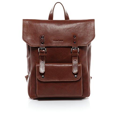 FEYNSINN Rucksack dünn PHOENIX - Unisex Lederrucksack groß Lederrucksack 14 Zoll Laptop - Backpack im Vintage-Look Damen Herren echt Leder hellbraun-cognac