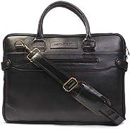 MUTAQINOTI Sleek & Compact Black Vegan Leather Handmade Men Women Unisex Laptop Bag MacBook Messenger Bag