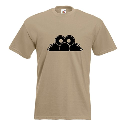 KIWISTAR - Elmo - Halber Elmo - Ernie - Bert T-Shirt in 15 verschiedenen Farben - Herren Funshirt bedruckt Design Sprüche Spruch Motive Oberteil Baumwolle Print Größe S M L XL XXL Khaki
