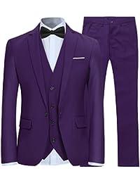 8db59d5f5c97c Trajes para Hombre 3 Piezas Slim Fit Boda Esmoquin Formal Un botón Cerrar  Blazers Chaqueta Chaleco