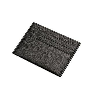 AgentX Genuine Leather Credit Card Case Money Wallet Black Brown -  Black -