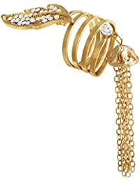 Spargz Gold Plated Party Wear AD Stone Dangle Tessale Chain Charm Rings For Women AIFR 114