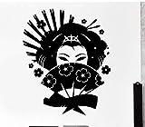 Dalxsh Japanischen Stil Wandtattoos Geisha Japan Orientalische Frau Fan Mädchen Wohnzimmer Innenwanddekor Vinyl Aufkleber Kunstwand 42X51 Cm