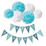 Habby Birthday Alles Gute Zum Dekoration Deko Geburtstag Girlande Quasten Girlande Geburtstag und 6 Seidenpapier Pompons Pompoms f�r Geburtstag Dekoration(Blau und Wei�) Bild