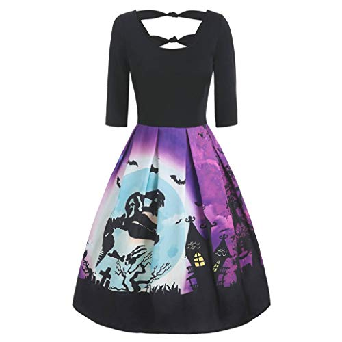Fresofy Elegant Halloween Party Damen Kleid Langarm Kürbis Drucken Rockabilly Cocktailkleid Schaukel Kleider Swing Minikleid A-Linie Kleid Faltenrock Prom Abendkleid Festliches Karneval Damenkleider (Sex Prom Kleid)