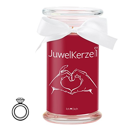 JuwelKerze Ich Liebe Dich - Kerze im Glas mit Schmuck - Große rote Duftkerze mit Überraschung als Geschenk für Sie (925 Sterling Silber Ring, Brenndauer: 90-120 Stunden)(M)