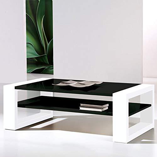 NOUVOMEUBLE Table Basse Design laquée Noire et Blanche Mary
