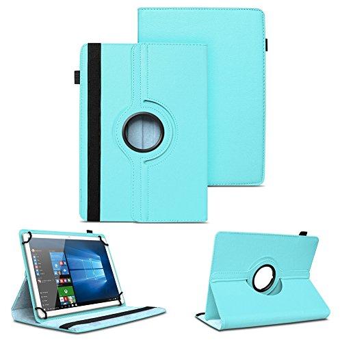 NAUC XORO PAD 9W4 PRO Universal Tablet Schutzhülle hochwertiges Kunst-Leder Hülle Tasche Standfunktion 360° Drehbar Cover Case, Farben:Türkis