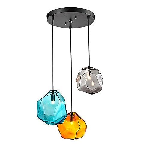 JiaYouJia 3-Lampe Luminaire Montage au Plafond Suspension Lustre Abat-jour en Verre Coloré Forme de Pierre Décoration pour Comptoir Restaurant Cuisine Salon Chambre d'enfant Salle à Manger Dais Rond