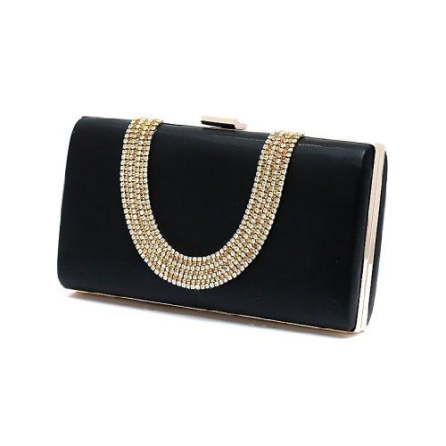 H:oter Frauen u. Mädchen Eleganz & Abschlussball-Partei-Abendhandtasche mit Kristall magischen Ring Griff, Handtasche, Geschenkideen - verschiedene Farben, Preis / Stück Schwarz