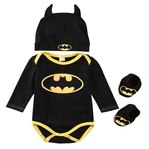 ecb3612da9 3 Unids 2019 Ropa Bebe Verano BebéS ReciéN Nacidos Bebe NiñOs Batman  Mamelucos Zapatos Trajes De