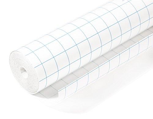 Herma 7005 Buchschutzfolie selbstklebend (5 m x 40 cm, transparent farblos glänzend) 1 Rolle, Gitterlinien, reißfest, umweltfreundlicher Kunststoff, für dauerhaftes Einbinden