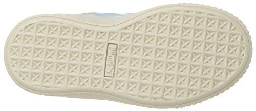 PUMA Unisex-Kids Suede Platform SNK Sneaker  Dusty Coral-Cerulean Team Gold  10 5 M US Little Kid