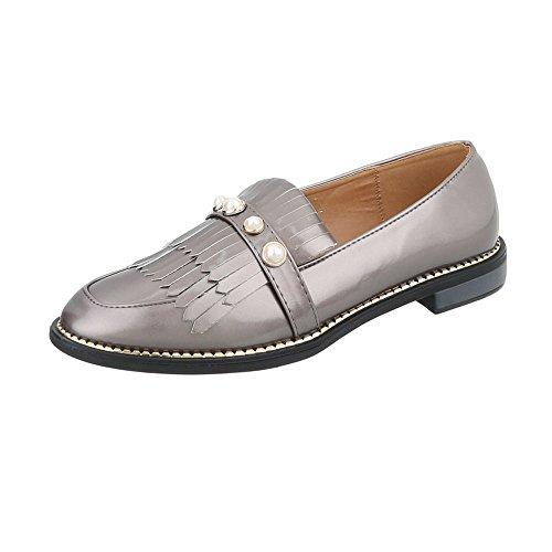Y Mocassini 5 Pantofole Argento Blocco Scarpe Grigie design Ital Donna qPHHw78g