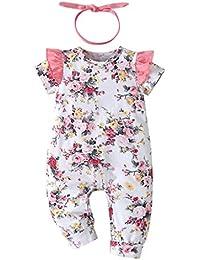 Ropa para Bebé Niñas Recién Nacido Monos de Manga Corta con Volantes Mameluco De Una Pieza Floral Impreso Peleles Pijama Casero y Diadema