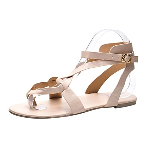 Muium Women Ladies Solid Color Flat Roman Sandals Clip Toe Cross Strap Casual Slippers Shoes